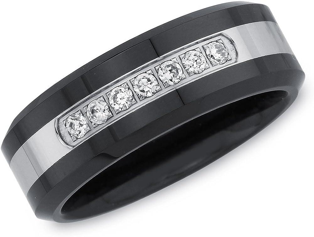 AX Jewelry Mens 1/6ct Natural Diamond Wedding Band