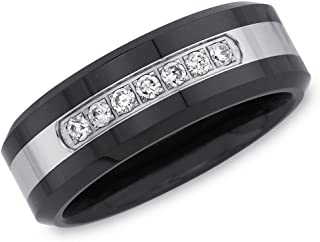 خاتم زفاف من الماس الطبيعي عيار 1/6 قيراط للرجال من AX Jewelry