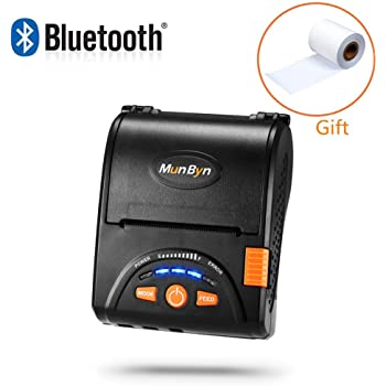 MUNBYN Bluetooth Receipt Printer, Android Bluetooth Mobile Printer P001,58MM Receipt Printer Impresora térmica Printer with Leather Belt for Business ESC/POS, Does NOT Support iOS Devices, Square