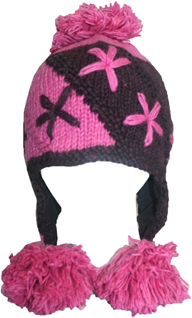 Agan Traders 1410 Warm Soft Wool Fleece-Lined Knit Beanie Two Tone Cold Weather Pom Pom Hat