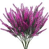 XHXSTORE Flores Artificiales Lavanda Planta Artificiales Púrpura de Plastico Arbusto Artificial Exterior Interior para Decoración Hogar Fiesta Jardín Oficina Patio Mesa