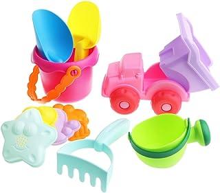 Baoblaze 10pcs Sand Beach Toy Kids Garden Sandpit Toy with Bucket, Truck, Rake & More