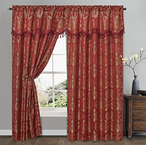 GOHD Golden Ocean Home Decor Simple Classic. Jacquard Window Curtain Panel Drape with Attached Wave Valance. 2pcs Set. Each pc 54 inches Wide x 84 inches Drop with Valance. (Burgundy)