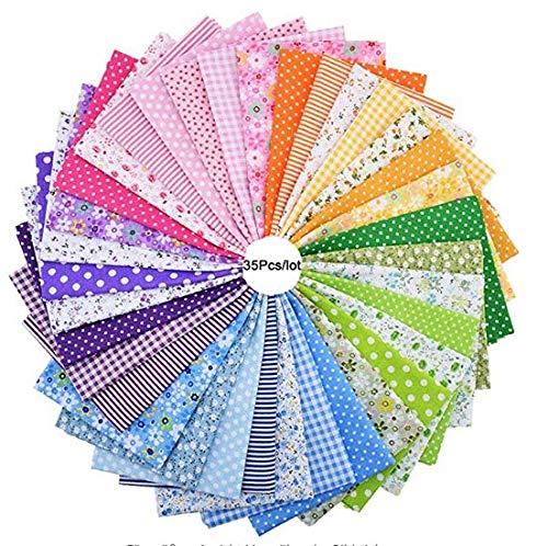 YOTINO 35 piezas 25 cm x 25 cm patrón floral estampado sistema de color telas patchwork Conjunto de tela de algodón colorido paquete de tela Paquete