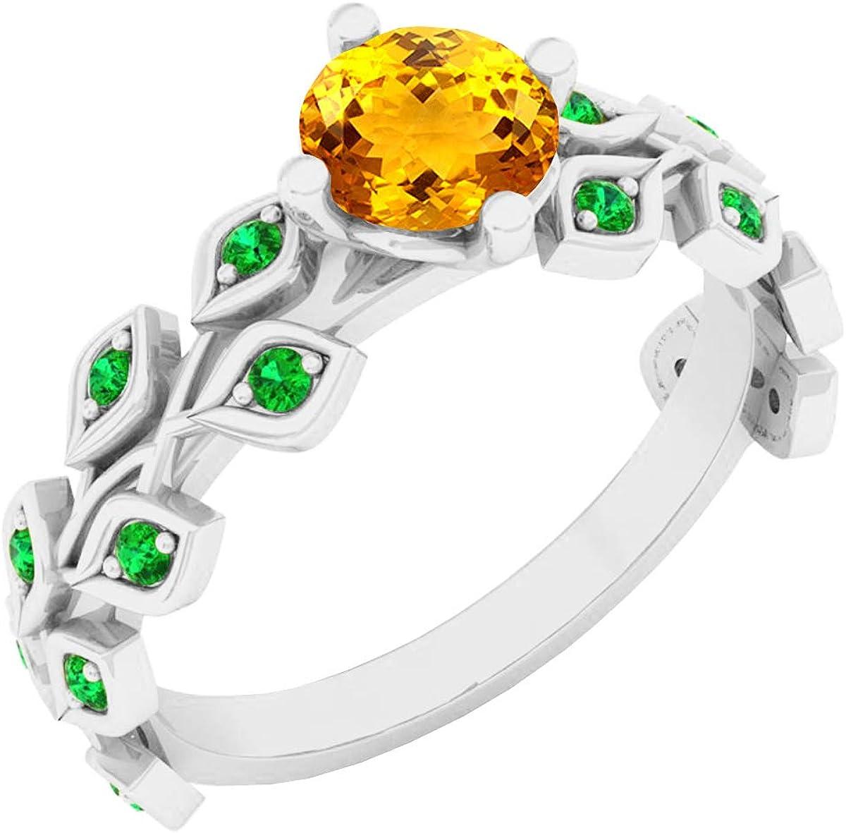 Dazzlingrock Collection 14K 5.5 MM Round Gemstone & Emerald Ladies Bridal Engagement Leaf Ring, White Gold