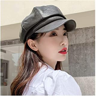 WYMAI Cap, Ladies Leather Cap, Autumn and Winter Beret, Fashion Octagonal Cap, Four Colors Optional [55-58cm] Simple and Practical Product (Color : Gray)