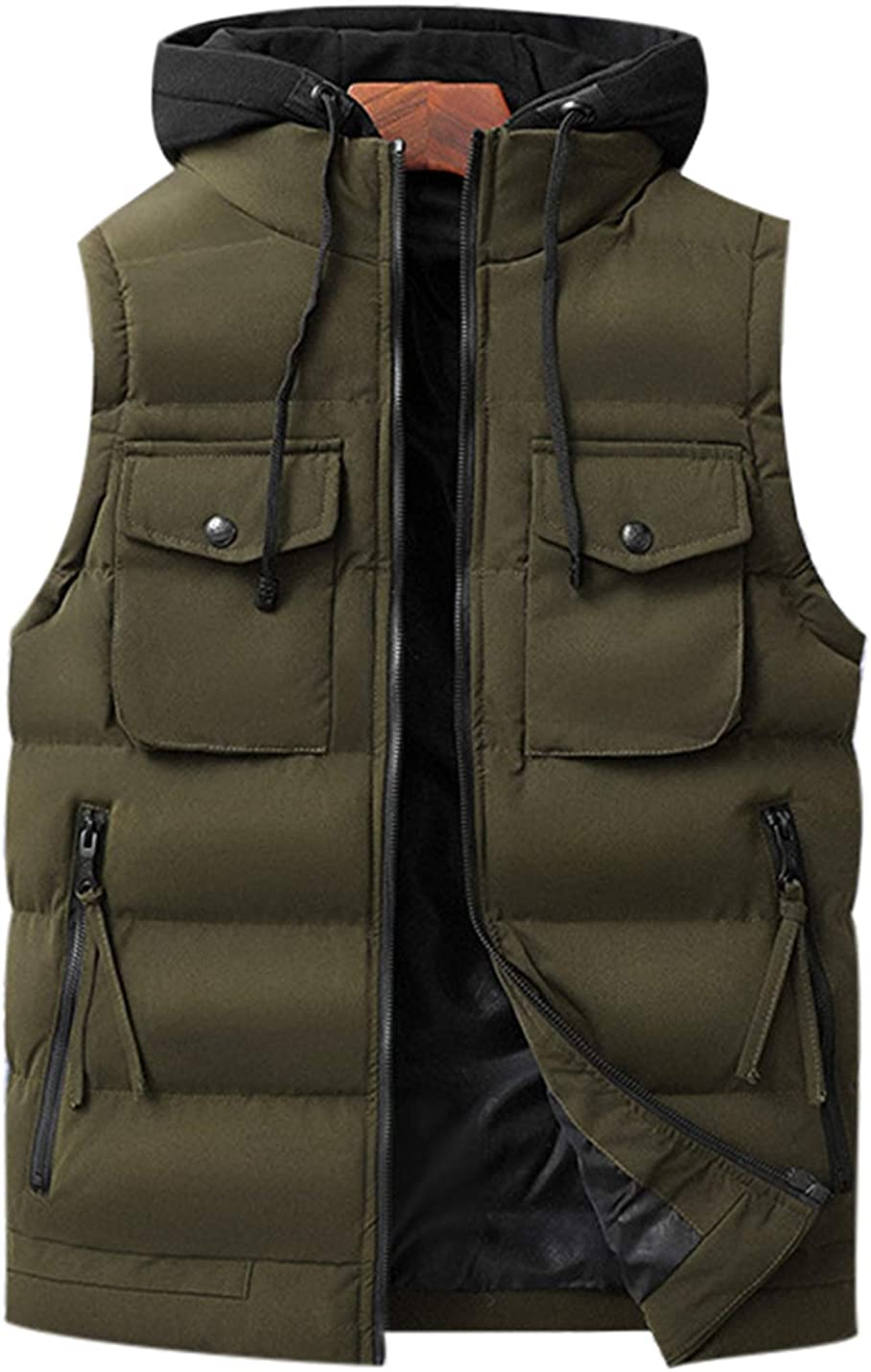 Uaneo Mens Casual Slim Thicken Sleeveless Colorblock Detachable Hoodie Parka Vest(Green-S)