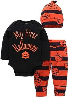 Zoylink 3 PIÈCES Tenue Halloween pour Bébé Ensemble Pantalon Chapeau Mignon Barboteuse Citrouille pour Bébé