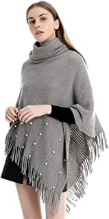 Women's Turtleneck Knitted Soft Tassel Poncho Pullover Sweater Knit Cape Pullover Shawl Tassels Pearl Womens Dress Ponchos Boho Loose Tassel (Color : Grey)