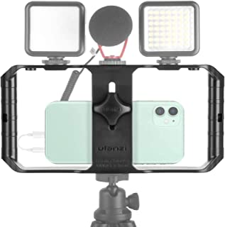 Smartphone Video Rig Handheld iPhone Filmmaking Cage with 3 Cold Shoe Mounts Phone Video Stabilizer for Videomaker for iPh...