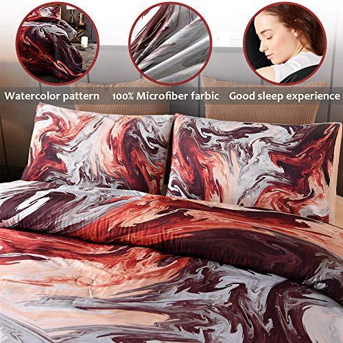 Sisher Queen Size Bedding Comforter Sets, 3 Pcs Marble Comforter Sets Oil Painting Design,Artwork Watercolor Ultra Soft Quilt Set