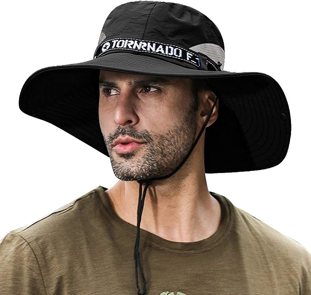 Breathable Cool Wide Brim Bucket Hat Outdoor Sun Protection Mesh Safari Cap for Fishing Hunting Camping