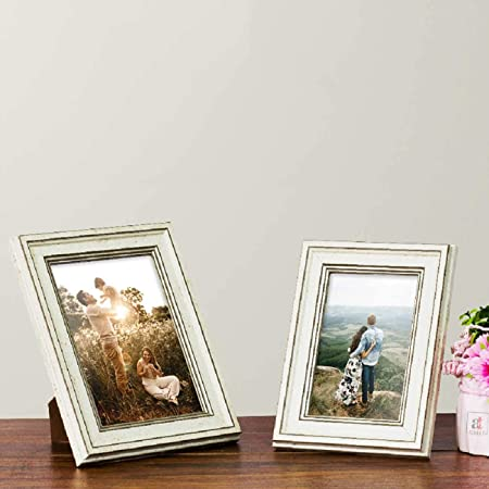 """Art Street Table Photo Frame/Picture Frame for Desk (Photo Size 5""""X7"""" & 4""""X6"""") Photo Gift/Love Gift - (Set of 2- White)"""