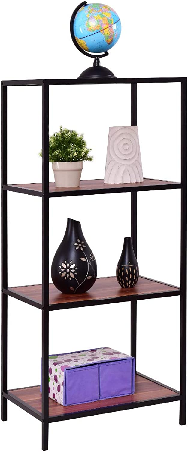 Tangkula Ladder Shelf, Multipurpose Storage Bookcase Organizer, Free Standing Decor Storage Shelf, Flower Plant Display Shelf for Home Office, Bookshelf Rack (4-Tier  24  x17  x 55 (L x W x H))