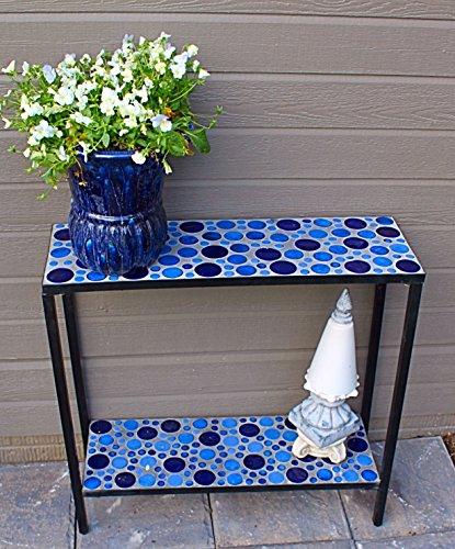 Concrete Patio Console Buffet Table with Blue Mosaic Design