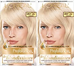 L'Oreal Paris Superior Preference Fade-Defying + Shine Permanent Hair Color, LB01 Extra Light Ash Blonde, 2 COUNT Hair Dye