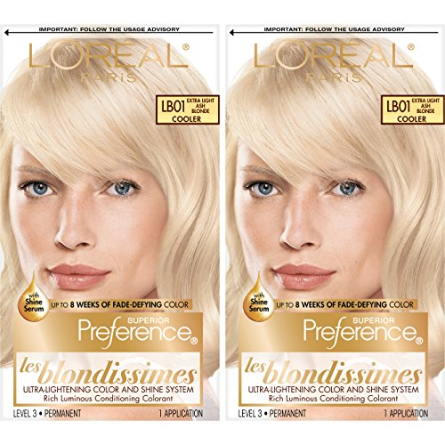 L'Oreal Paris Superior Preference Fade-Defying + Shine Permanent Hair Color, LB01 Extra Light Ash Blonde, Pack of 2, Hair Dye