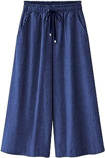 Women's Elastic Waist Wide Leg Cropped Capris Drawstring Jean Culottes Pants
