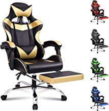 ALFORDSON Gaming Chair Racing Chair Executive Sport Office Chair with Footrest PU Leather Armrest Headrest Home Chair in G...