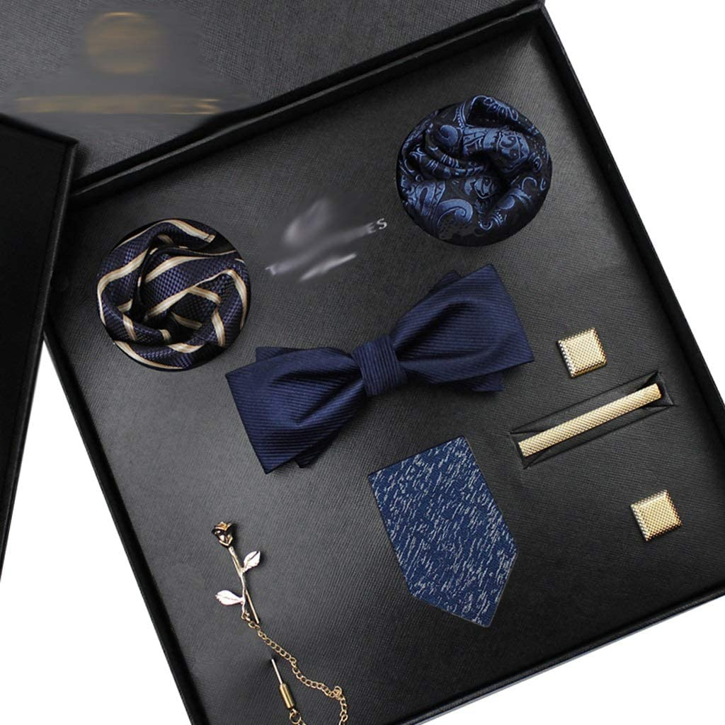 CDQYA Necktie Set for Men Silk Butterfly Tie Hanky Cufflinks Cufflinks Tie Clips and Lapel Pin Set Floral Bowtie (Color : B)