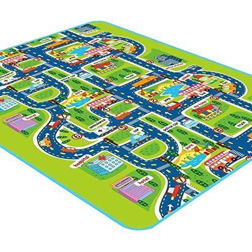 Ritapreaty Tappeto da gioco per bambini con auto e giocattoli, tappetino educativo per il traffico stradale