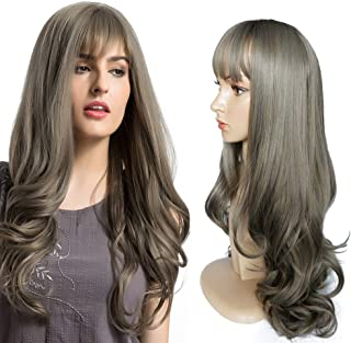 Synthetic Wig for Women Natural Looking Long Wavy Wig Heat Resistant Wig Hair Replacement Wig Grey Wig for Women Ombre Wig 26 Inch with Wig Cap & Comb