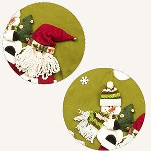 GSYYSZD Sapin de Noël Jupe, Décoration de Noël Père Noël Bonhomme de Neige Flocon de Neige d'arbre Tapis de Base Couverture Jute Holiday Party Décor Maison Ornement (120cm)