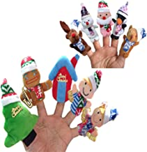 NLGToy 10pcs Story Time Finger Puppets Set- Christmas Santa Claus and Friends Soft Dolls Props Toys - Cloth Velvet Puppets - Storytelling, Good Toys, Hand Puppet for Baby's Gift