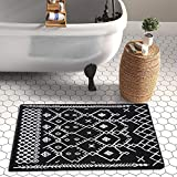 Upgraded Boho Bathroom Rug 2'x3', 100% Woven Boho Black Border Rug for Bedroom Black and White Rug Bath Mat, Kitchen Rug Washable Cotton Small Throw Rug, Tassel Rug for Kitchen/Laundry/Doorway/Porch