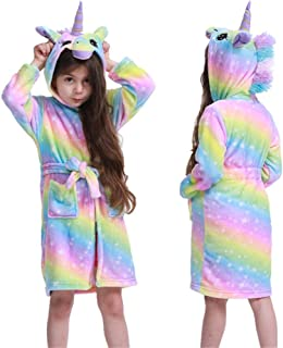 أرواب الفتيات يونيكورن رداء حمام بغطاء رأس للأطفال الكرتون الحيوان بيجامة الشتاء ملابس نوم