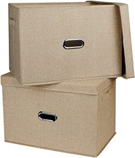収納ボックス インナーボックス フタ付き 収納ケース 小物収納 インナーケース 取っ手付き (ベージュ, L)