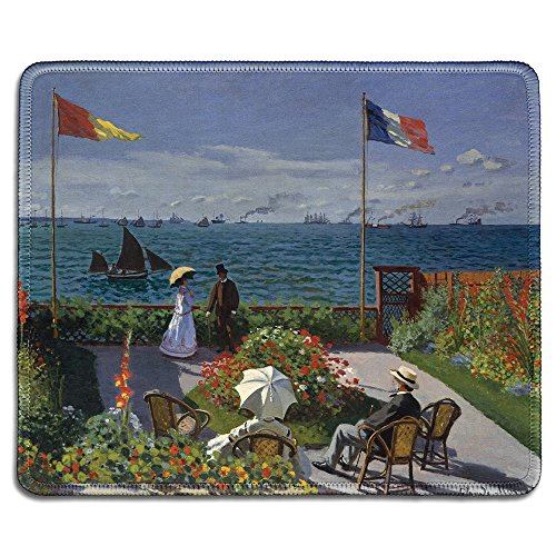 dealzEpic - Art Mousepad - Natural Rubber Mouse Pad with Famous Fine Art Painting of Garden at Sainte-Adresse by Claude Monet - Stitched Edges - 9.5x7.9 inches