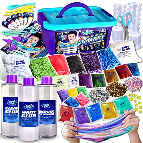 Galaxy Slime Kit, FunKidz Slime Making Supplies Stress Relief Toy Metallic Glow in Dark Glitter Fluffy Cloud Colorful Foam Butter Slime Craft Science Kits for Girls and Boys