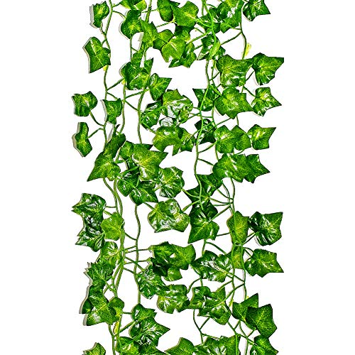 LEFV Ivy Garland 6 Feet Long Artificial Vine Plant Leaves Silk Greenery Chain Wedding Party Supplies Garlands Home Garden Wall Decoration Sweet Potato Leaf, Pack of 1