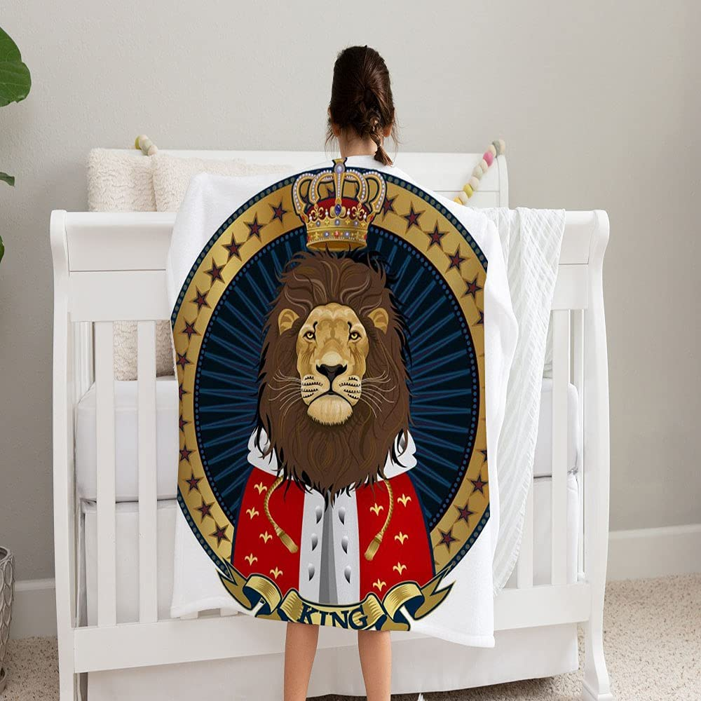 GANTEE Lion King Face Blanket Max 53% OFF Super Soft Fleece Cheap mail order shopping Blanke and Cozy
