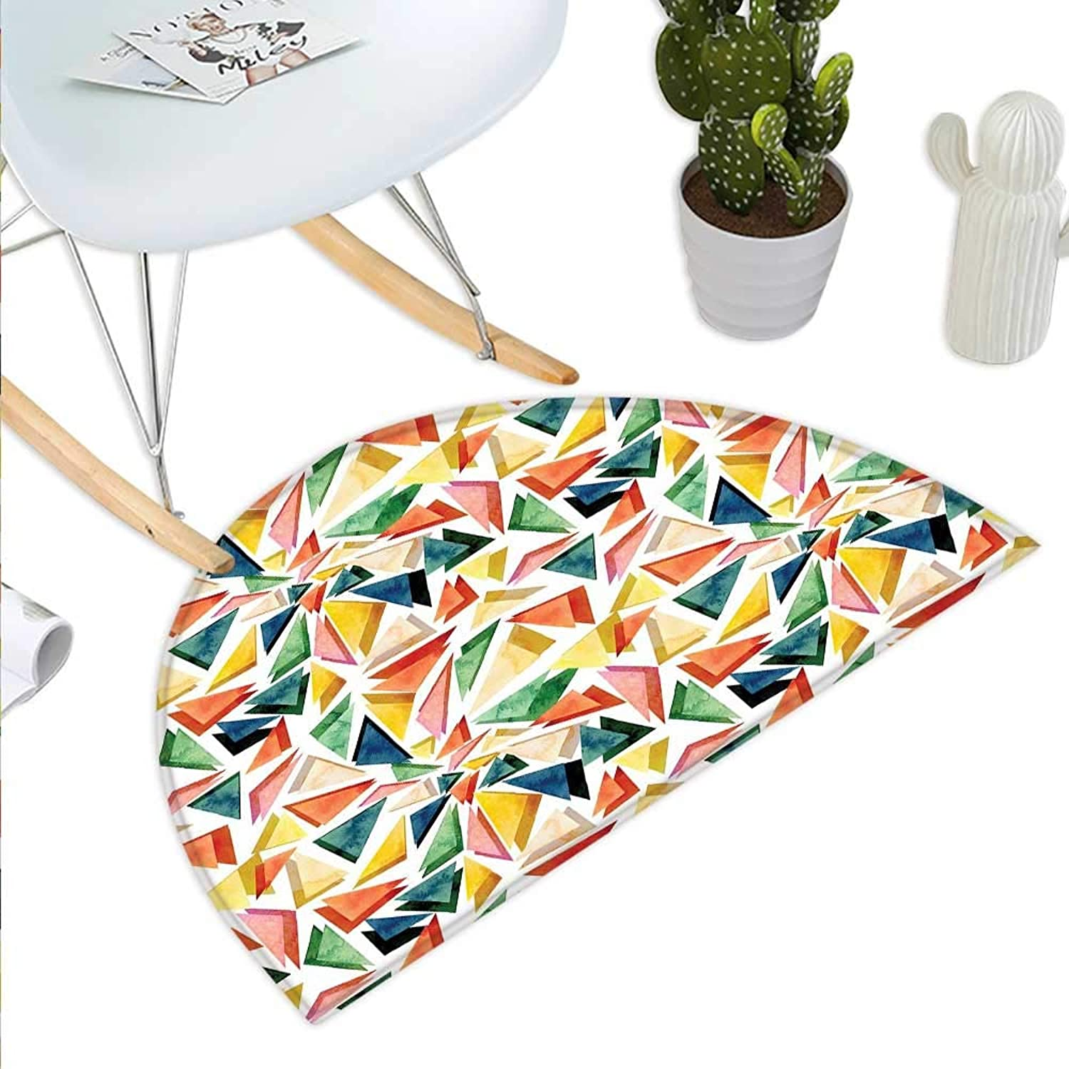 Watercolor Semicircle Doormat Triangle Pattern with Rainbow color Palette Abstract colorful Aquarelle Design Halfmoon doormats H 43.3  xD 64.9  Multicolor
