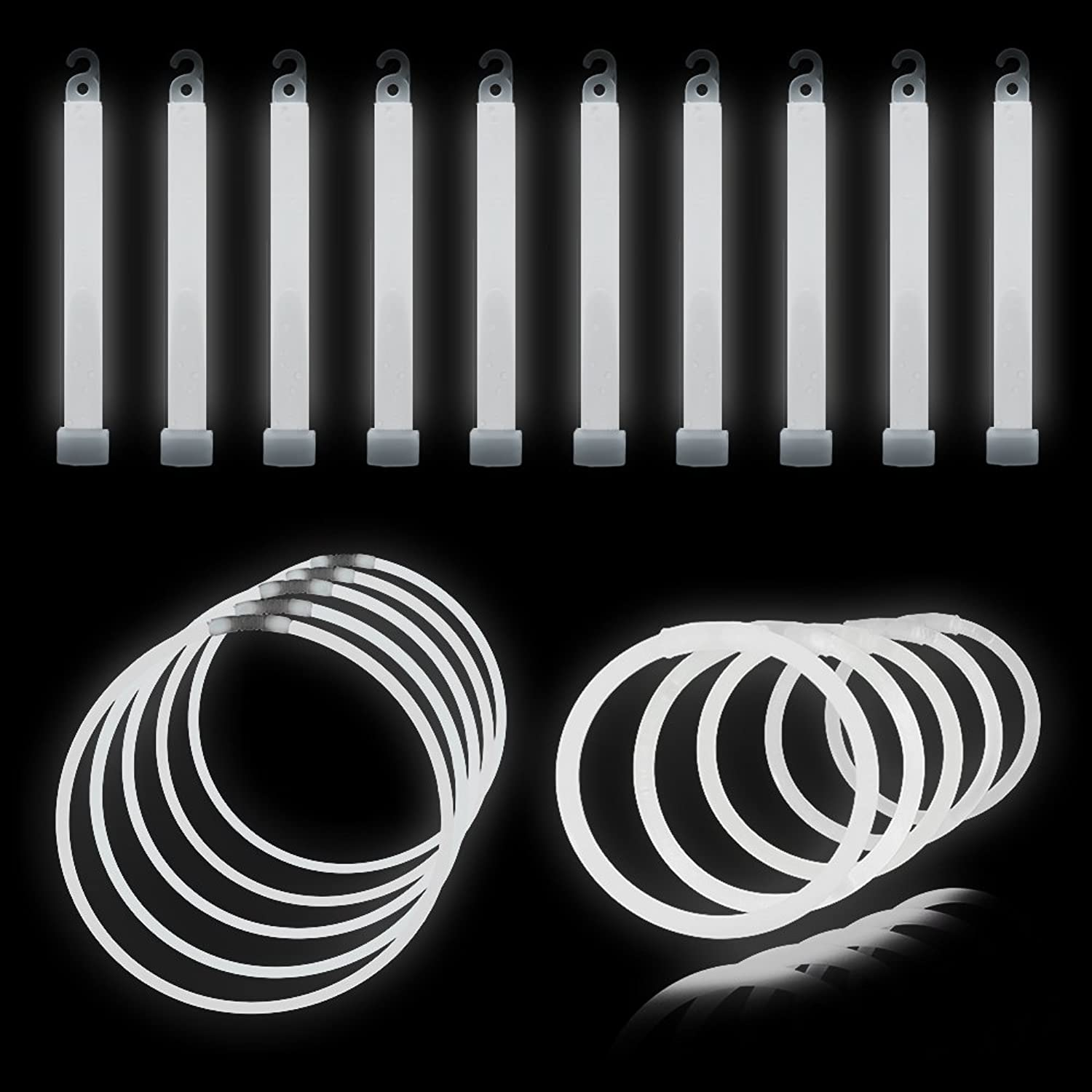 Glow Sticks 175 Piece White Wedding Party Pack - Lumistick Glowstick Bundle with Bracelets, Necklaces, and More