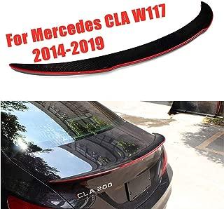 HJHNB Carbon Fiber Rear Boot Spoiler for Mercedes-Benz CLA W117 45 AMG 180 200 220 250 260 Sedan, 2014-2019, Black with Red Edges