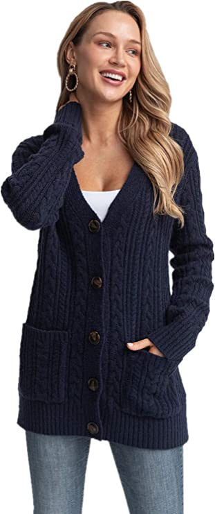 Laraine Women's Long Sleeve Cable Knit Chunky Sweater Open Front Cardigan Button Down Loose Outerwear Coat with Pockets