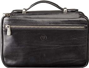 Maxwell Scott Italian Leather Travel Cosmetic Case - Cascina Black