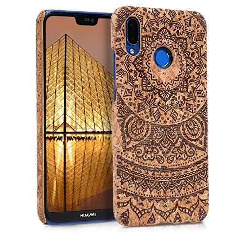 kwmobile Huawei P20 Lite Hülle - Handyhülle für Huawei P20 Lite - Handy Case Kork Cover Schutzhülle - Indische Sonne Design Dunkelbraun Hellbraun
