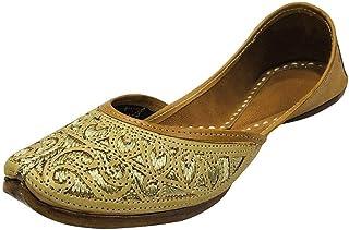 Ladies Cream Zari Work Punjabi Jutti Ethnic Mojari Handmade Designer Khussa Shoes