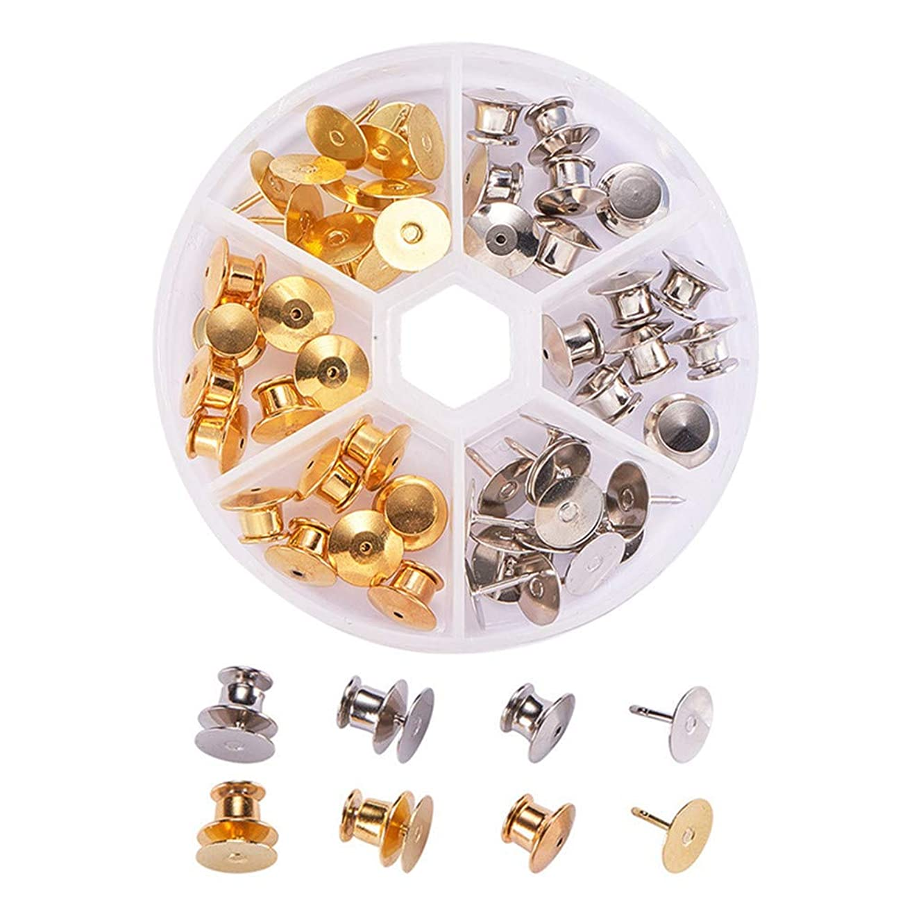 BENECREAT 60 Count Gold & Platinum Colors Clutch Pin Backs with Tie Tacks Blank Pins Kit, Locking Bulk Metal Pin Keepers Locking Clasp with Storage Case