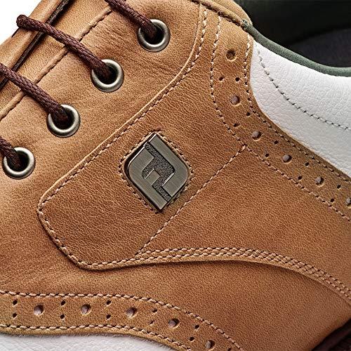 FootJoy Men's DryJoys Tour Golf Shoes White 11.5 N Bomber Taupe, US