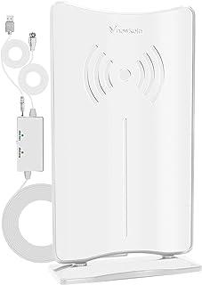 室内 HD テレビ アンテナ, 120KM以内受信範囲 地デジアンテナ 卓上 室内アンテナ HDTV アンテナ UHF VHF対応 ブースター USB式 避雷 設置簡単-ホワイト