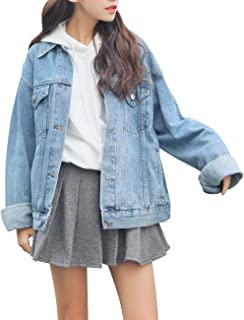 KAMA BRIDAL Women's Boyfriend Denim Jackets Long Sleeve Oversized Loose Jean Coat