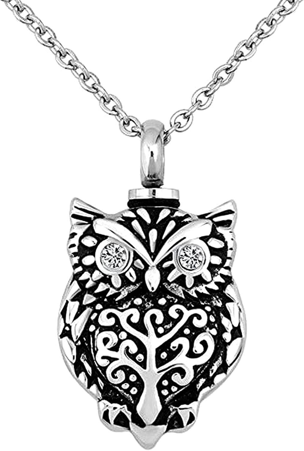 KunBead Heart Urn Pendant Necklace for Ashes Owl Memorial Keepsake Cremation Jewelry for Ashes