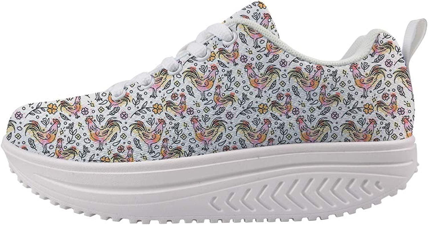 Owaheson Swing Platform Toning Fitness Casual Walking shoes Wedge Sneaker Women Paint Floral Mighty Cock Rooster