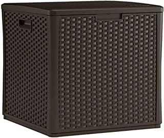 Suncast 60-Gallon Medium Deck Box - Lightweight Resin Indoor/Outdoor Storage Container and Seat for Patio Cushions, Gardening Tools and Toys - Store Items on Patio, Garage, Yard - Java