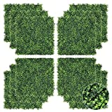 VINGLI 12 PCS 20'x 20' Artificial Boxwood Panels, Topiary Plant Wall Hedge Mat, Privacy Screen UV Protected, Suitable for Outdoor, Indoor, Garden, Fence, Backyard and Decor